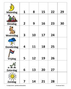 Kalender Klok Wegen Rekenen met geld Oefenen Rekenen Huiswerk Werkblad Squla Bijlesmeester Baissschool Groep 12345678