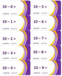 LeerKaartjes bij het getal 10 sommen memoriseren beter onthouden