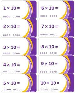 LeerKaartjes Tafel van 10 oefenen automatiseren tafels rekenen memoriseren bewegend leren onthouden