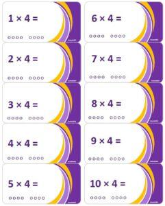 LeerKaartjes Tafel van 4 oefenen automatiseren tafels rekenen memoriseren bewegend leren onthouden
