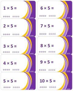 LeerKaartjes Tafel van 5 oefenen automatiseren tafels rekenen memoriseren bewegend leren onthouden