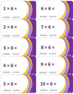 LeerKaartjes Tafel van 6 oefenen automatiseren tafels rekenen memoriseren bewegend leren onthouden