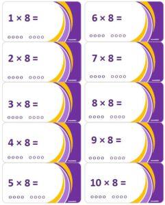 LeerKaartjes Tafel van 8 oefenen automatiseren tafels rekenen memoriseren bewegend leren onthouden