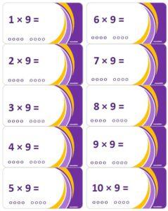 LeerKaartjes Tafel van 9 oefenen automatiseren tafels rekenen memoriseren bewegend leren onthouden