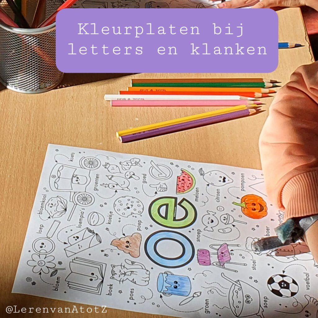 Klanken en letter kleurplaat taalcircuit groep 3 4 bewegend leren