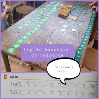 Wat zijn de leerlingen fanatiek aan het werk! Leren door te doen! 💪  Leg de kaartjes op volgorde. 🔢 Spiek eventueel op het meetlint.📏 Klaar? 💡 Leerling 1 sluit de ogen. Leerling 2 draait een kaartje op de kop. Welke is omgedraaid?  #lerendoortedoen #rekencircuit #speelleerplein  www.lerenvanatotz.nl