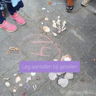🐚 LEG AANTALLEN BIJ GETALLEN 🐚 Verspreid over het plein staan de getallen 11 t/m 20. De leerlingen mogen blokjes of schelpen ophalen, twee stuks per keer, en de juiste aantallen bij de getallen leggen.   Het is prachtig om te zien hoe de leerlingen ordenen. Sommigen in dobbelsteenbeelden, anderen in groepjes en weer anderen niet.   #buitenles #groep3 #groep2 #bewegendleren #rekenen  www.lerenvanAtotZ.nl